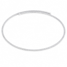 Stunning Rhodium Plated Mesh with Crystal Expandable Collar Necklace